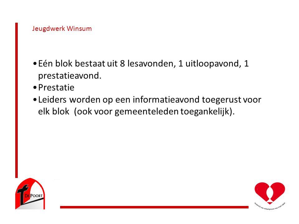 Jeugdwerk Winsum Eén blok bestaat uit 8 lesavonden, 1 uitloopavond, 1 prestatieavond.