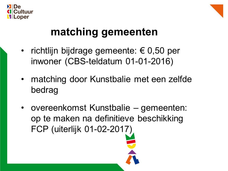 matching gemeenten richtlijn bijdrage gemeente: € 0,50 per inwoner (CBS-teldatum 01-01-2016) matching door Kunstbalie met een zelfde bedrag overeenkomst Kunstbalie – gemeenten: op te maken na definitieve beschikking FCP (uiterlijk 01-02-2017)