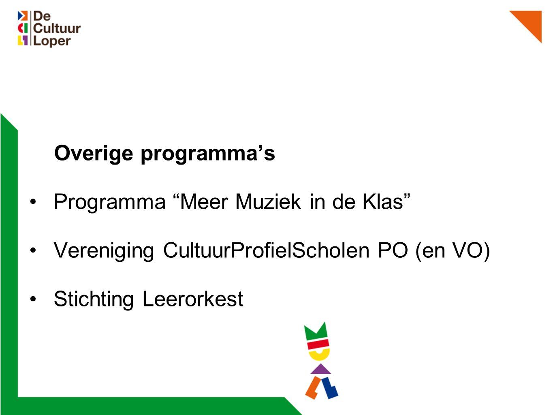 Overige programma's Programma Meer Muziek in de Klas Vereniging CultuurProfielScholen PO (en VO) Stichting Leerorkest