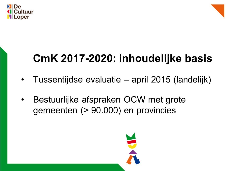 CmK 2017-2020: inhoudelijke basis Tussentijdse evaluatie – april 2015 (landelijk) Bestuurlijke afspraken OCW met grote gemeenten (> 90.000) en provincies