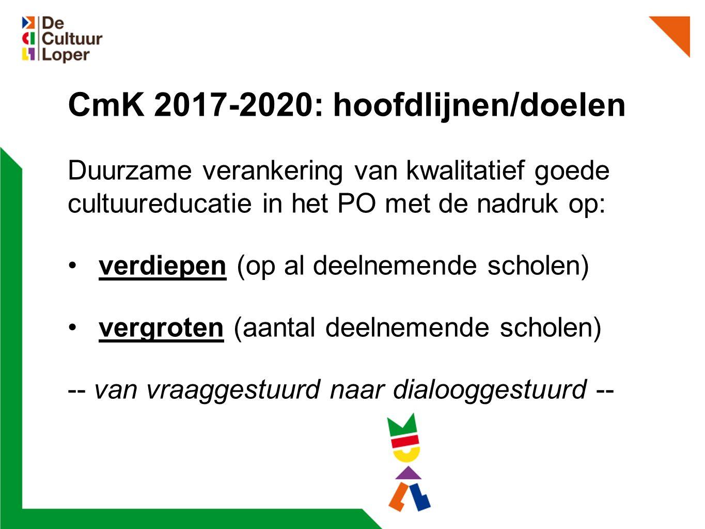 CmK 2017-2020: hoofdlijnen/doelen Duurzame verankering van kwalitatief goede cultuureducatie in het PO met de nadruk op: verdiepen (op al deelnemende scholen) vergroten (aantal deelnemende scholen) -- van vraaggestuurd naar dialooggestuurd --