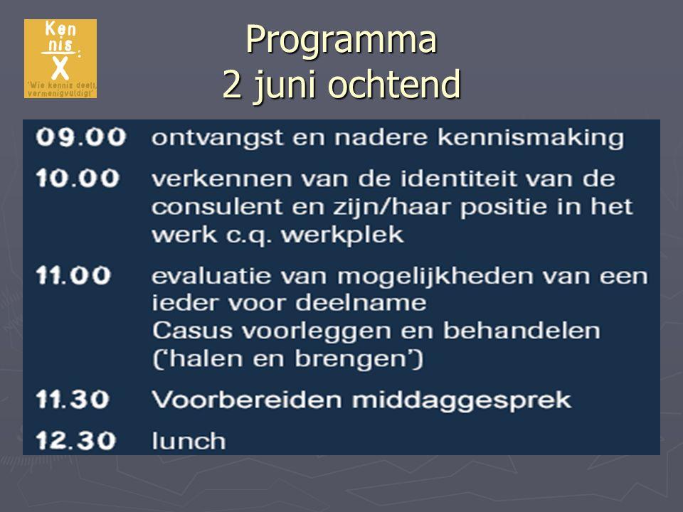Programma 2 juni ochtend