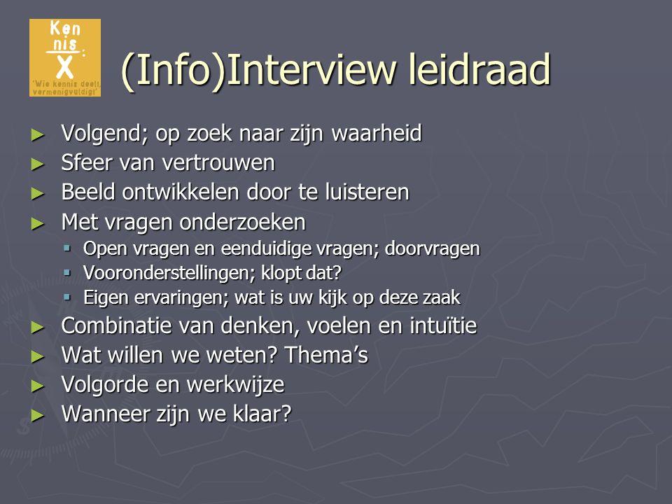 (Info)Interview leidraad ► Volgend; op zoek naar zijn waarheid ► Sfeer van vertrouwen ► Beeld ontwikkelen door te luisteren ► Met vragen onderzoeken 