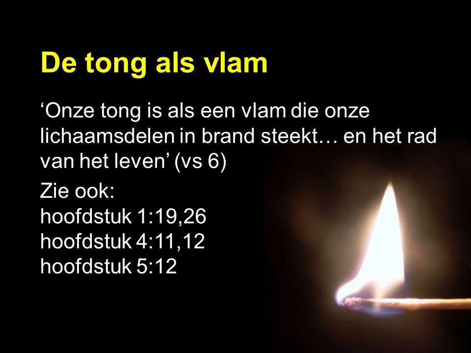 'Onze tong is als een vlam die onze lichaamsdelen in brand steekt… en het rad van het leven' (vs 6) Zie ook: hoofdstuk 1:19,26 hoofdstuk 4:11,12 hoofdstuk 5:12 De tong als vlam