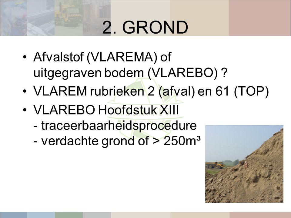 2. GROND Afvalstof (VLAREMA) of uitgegraven bodem (VLAREBO) .