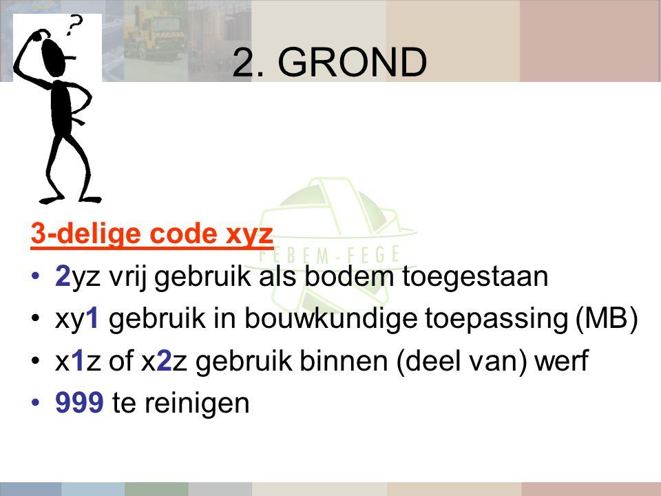 2. GROND 3-delige code xyz 2yz vrij gebruik als bodem toegestaan xy1 gebruik in bouwkundige toepassing (MB) x1z of x2z gebruik binnen (deel van) werf