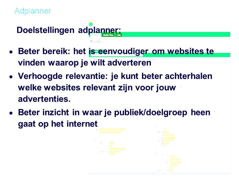 Doelstellingen adplanner: Beter bereik: het is eenvoudiger om websites te vinden waarop je wilt adverteren Verhoogde relevantie: je kunt beter achterhalen welke websites relevant zijn voor jouw advertenties.