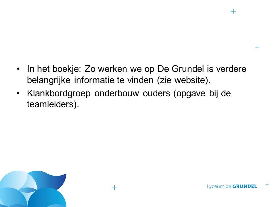 In het boekje: Zo werken we op De Grundel is verdere belangrijke informatie te vinden (zie website). Klankbordgroep onderbouw ouders (opgave bij de te