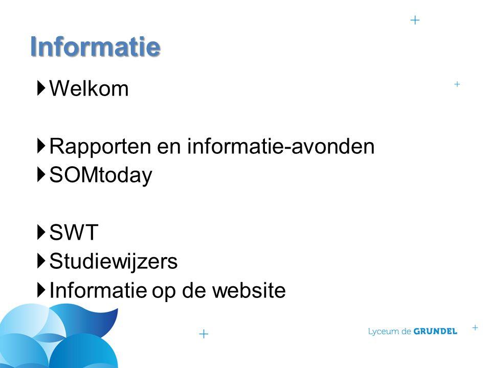  Welkom  Rapporten en informatie-avonden  SOMtoday  SWT  Studiewijzers  Informatie op de website Informatie
