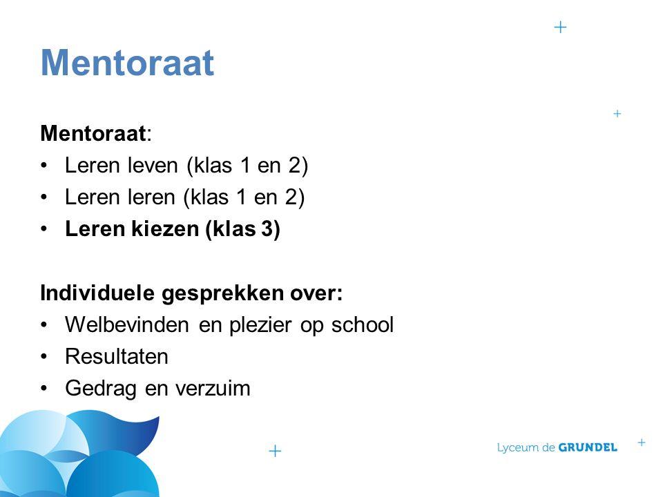Mentoraat: Leren leven (klas 1 en 2) Leren leren (klas 1 en 2) Leren kiezen (klas 3) Individuele gesprekken over: Welbevinden en plezier op school Resultaten Gedrag en verzuim Mentoraat