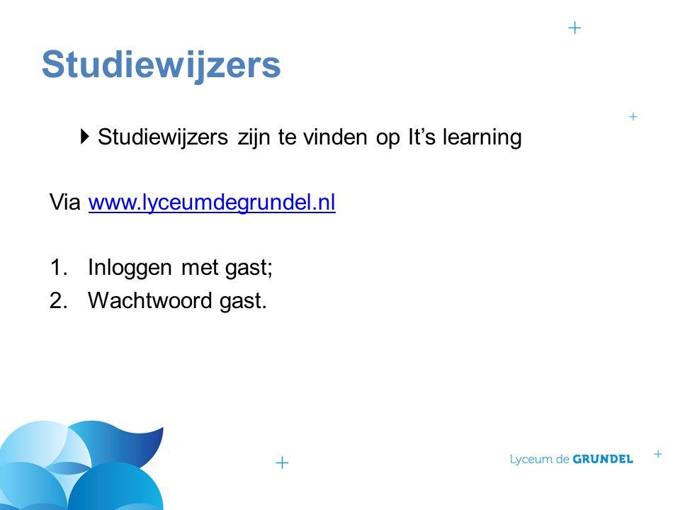  Studiewijzers zijn te vinden op It's learning Via www.lyceumdegrundel.nlwww.lyceumdegrundel.nl 1.Inloggen met gast; 2.Wachtwoord gast.