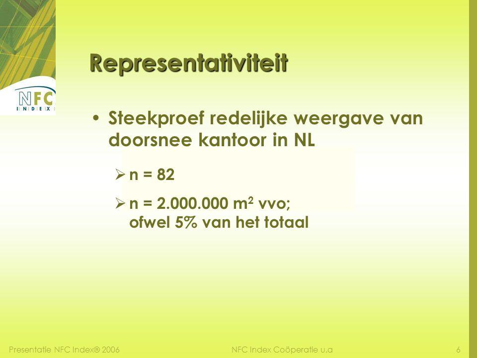 Presentatie NFC Index® 20066NFC Index Coöperatie u.a Steekproef redelijke weergave van doorsnee kantoor in NL  n = 82  n = 2.000.000 m 2 vvo; ofwel 5% van het totaal Representativiteit