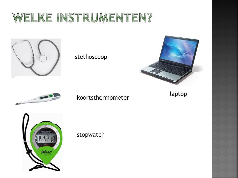 stethoscoop koortsthermometer stopwatch laptop