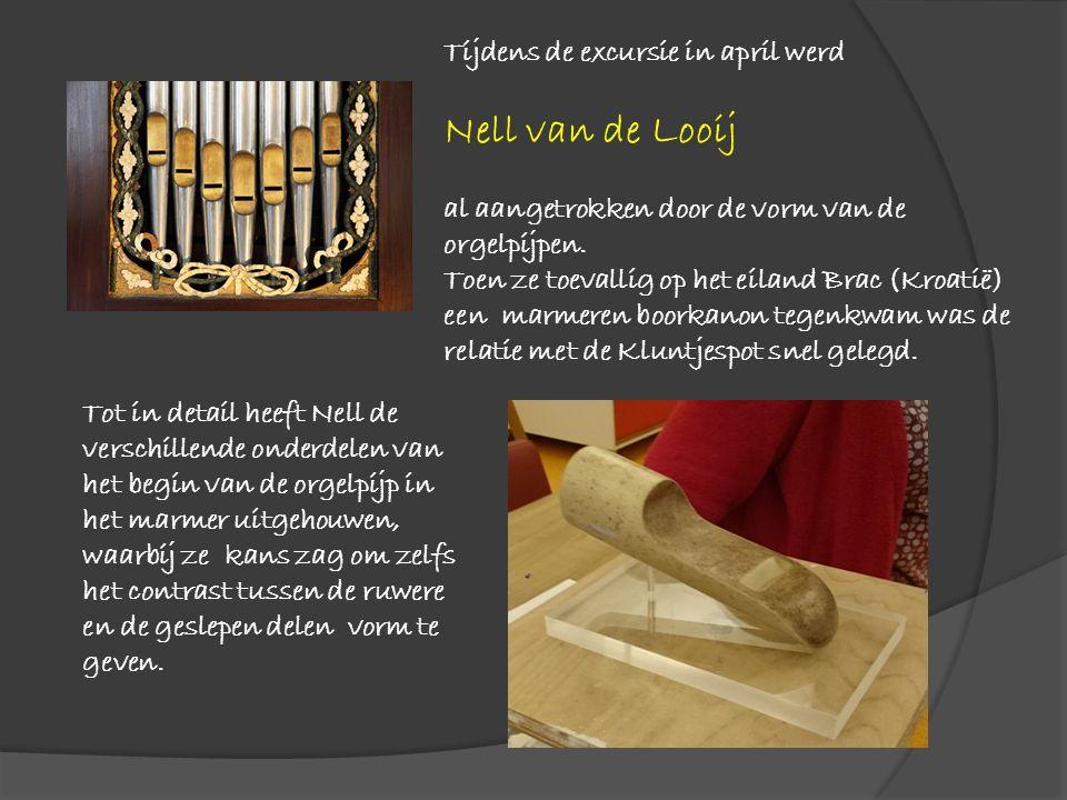 Tijdens de excursie in april werd Nell van de Looij al aangetrokken door de vorm van de orgelpijpen. Toen ze toevallig op het eiland Brac (Kroatië) ee