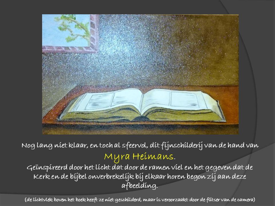 Nog lang niet klaar, en toch al sfeervol, dit fijnschilderij van de hand van Myra Heimans. Geïnspireerd door het licht dat door de ramen viel en het g