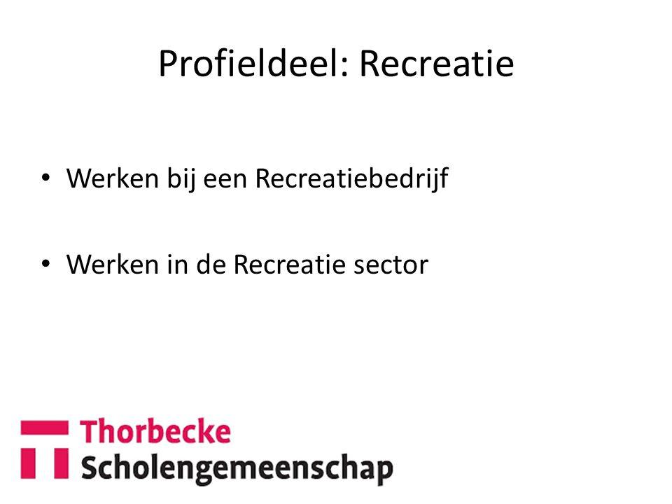 Profieldeel: Recreatie Werken bij een Recreatiebedrijf Werken in de Recreatie sector