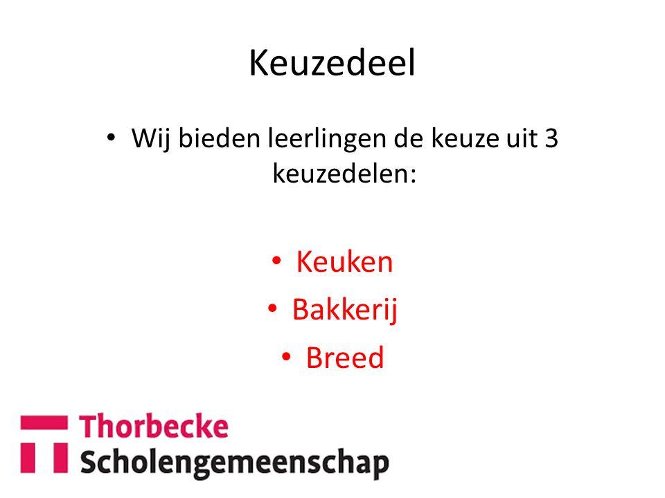 Keuzedeel Wij bieden leerlingen de keuze uit 3 keuzedelen: Keuken Bakkerij Breed