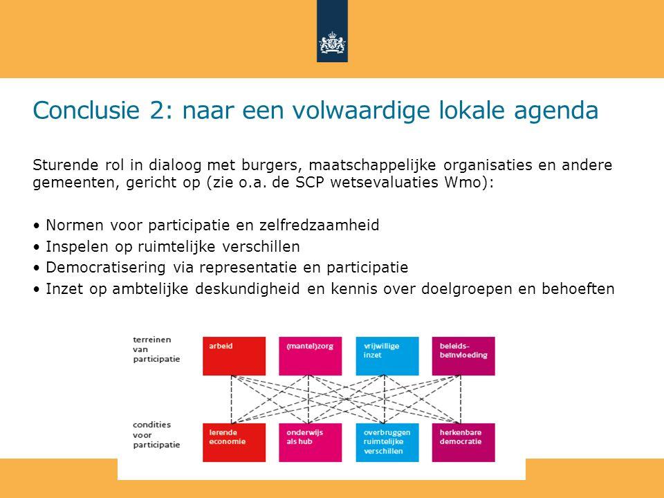 Conclusie 2: naar een volwaardige lokale agenda Sturende rol in dialoog met burgers, maatschappelijke organisaties en andere gemeenten, gericht op (zi