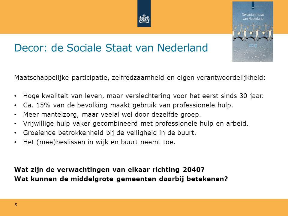 Decor: de Sociale Staat van Nederland Maatschappelijke participatie, zelfredzaamheid en eigen verantwoordelijkheid: Hoge kwaliteit van leven, maar ver