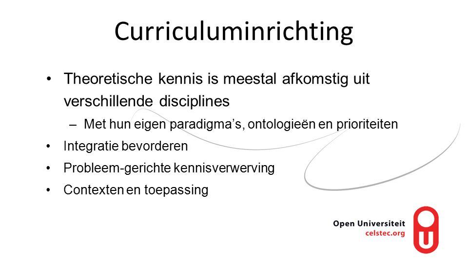 Curriculuminrichting Theoretische kennis is meestal afkomstig uit verschillende disciplines –Met hun eigen paradigma's, ontologieën en prioriteiten Integratie bevorderen Probleem-gerichte kennisverwerving Contexten en toepassing