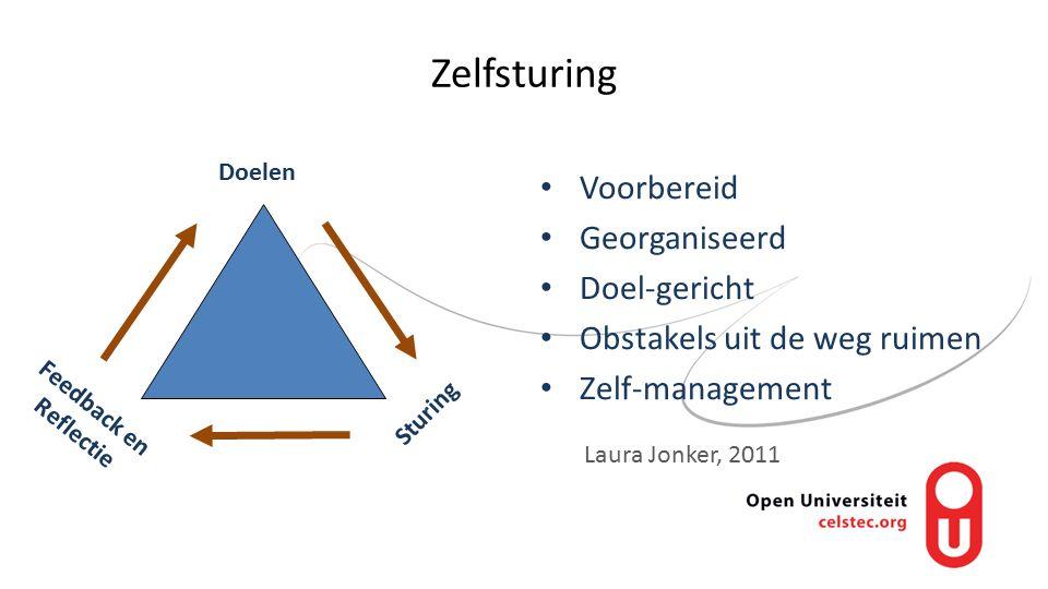 Zelfsturing Voorbereid Georganiseerd Doel-gericht Obstakels uit de weg ruimen Zelf-management Feedback en Reflectie Sturing Doelen Laura Jonker, 2011