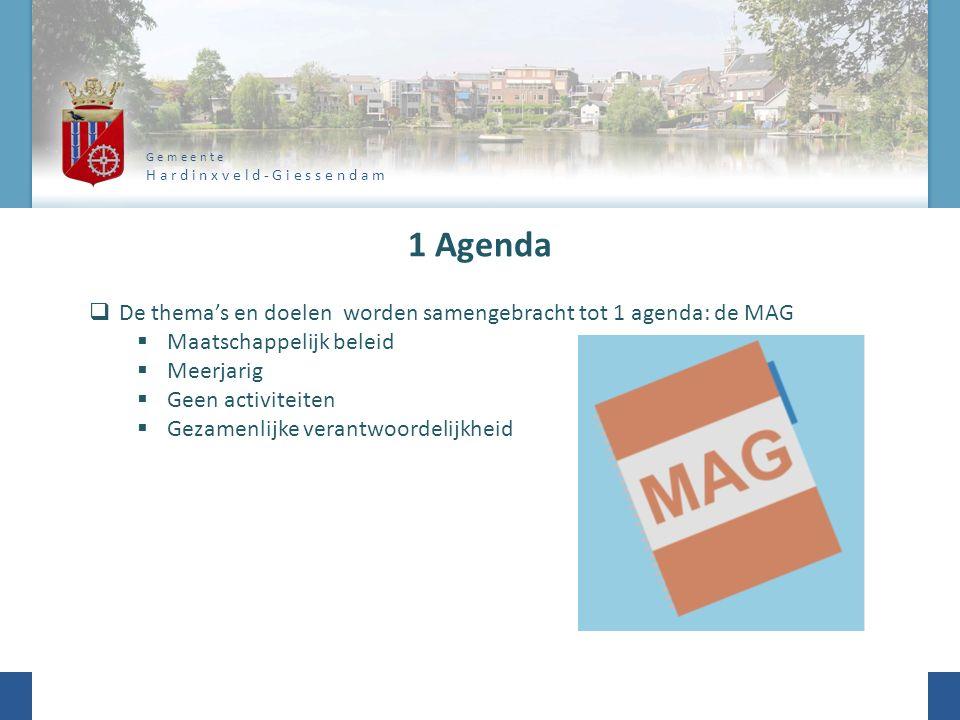 G e m e e n t e H a r d i n x v e l d - G i e s s e n d a m 1 Agenda  De thema's en doelen worden samengebracht tot 1 agenda: de MAG  Maatschappelijk beleid  Meerjarig  Geen activiteiten  Gezamenlijke verantwoordelijkheid