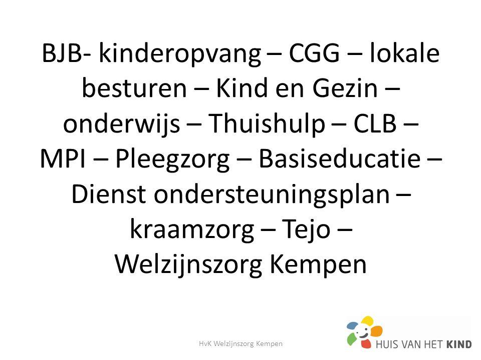 BJB- kinderopvang – CGG – lokale besturen – Kind en Gezin – onderwijs – Thuishulp – CLB – MPI – Pleegzorg – Basiseducatie – Dienst ondersteuningsplan – kraamzorg – Tejo – Welzijnszorg Kempen HvK Welzijnszorg Kempen8
