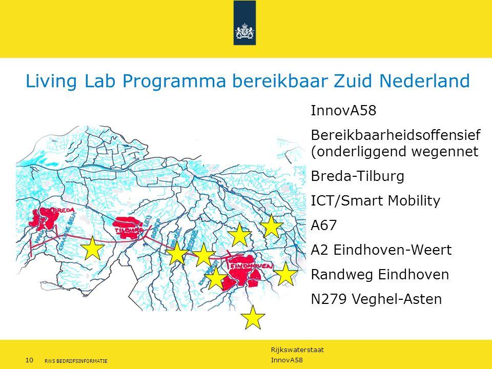 Rijkswaterstaat 10InnovA58 RWS BEDRIJFSINFORMATIE Living Lab Programma bereikbaar Zuid Nederland InnovA58 Bereikbaarheidsoffensief (onderliggend wegennet Breda-Tilburg ICT/Smart Mobility A67 A2 Eindhoven-Weert Randweg Eindhoven N279 Veghel-Asten
