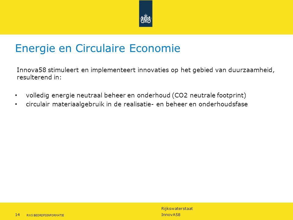 Rijkswaterstaat 14InnovA58 RWS BEDRIJFSINFORMATIE Energie en Circulaire Economie Innova58 stimuleert en implementeert innovaties op het gebied van duu