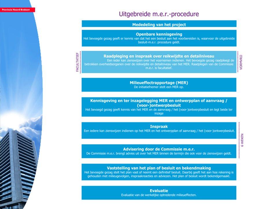 Notitie reikwijdte en detailniveau (NRD) –Eerste stap in de m.e.r.-procedure –doel: informeren over het voornemen –Aankondigen en afbakening van het initiatief (aard, locatie en omvang) –Overzicht te beschouwen milieuaspecten