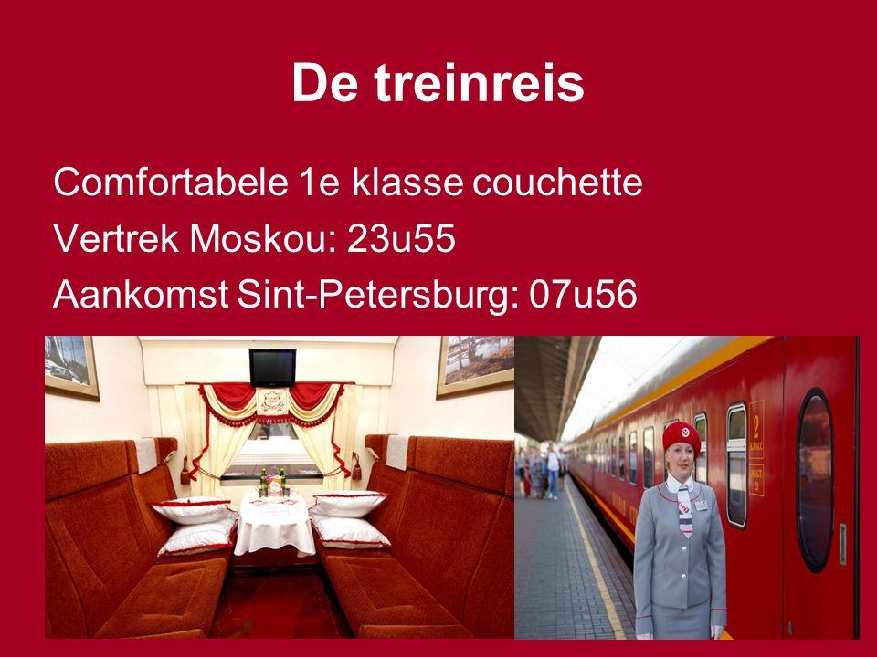 De treinreis Comfortabele 1e klasse couchette Vertrek Moskou: 23u55 Aankomst Sint-Petersburg: 07u56