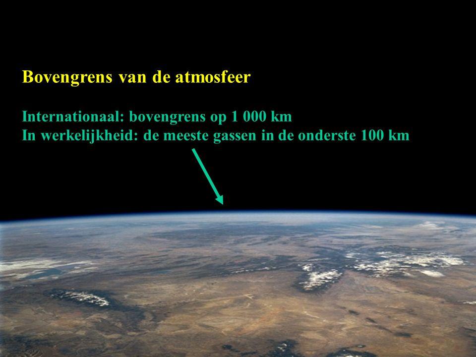 Internationaal: bovengrens op 1 000 km In werkelijkheid: de meeste gassen in de onderste 100 km Bovengrens van de atmosfeer
