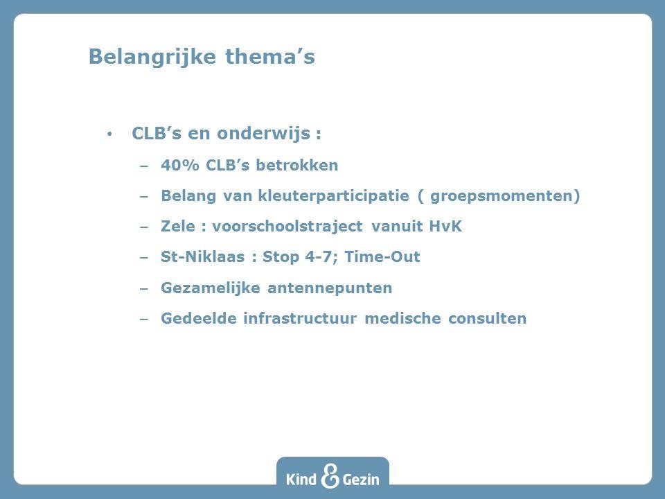 CLB's en onderwijs : – 40% CLB's betrokken – Belang van kleuterparticipatie ( groepsmomenten) – Zele : voorschoolstraject vanuit HvK – St-Niklaas : St