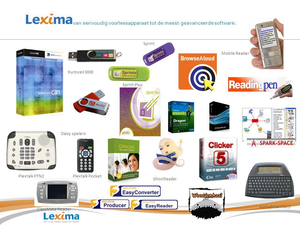 van eenvoudig voorleesapparaat tot de meest geavanceerde software. Daisy spelers Mobile Reader Sprint Plus GhostReader Plextalk Pocket ClassMate Reade