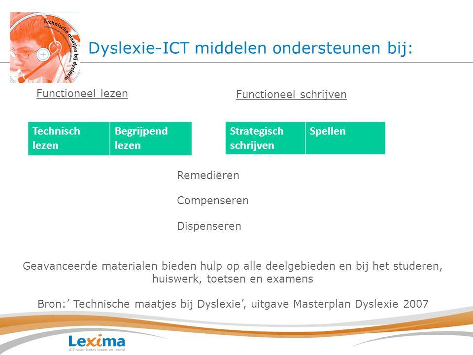 Dyslexie-ICT middelen ondersteunen bij: Technisch lezen Begrijpend lezen Functioneel schrijven Strategisch schrijven Spellen Functioneel lezen Remedië