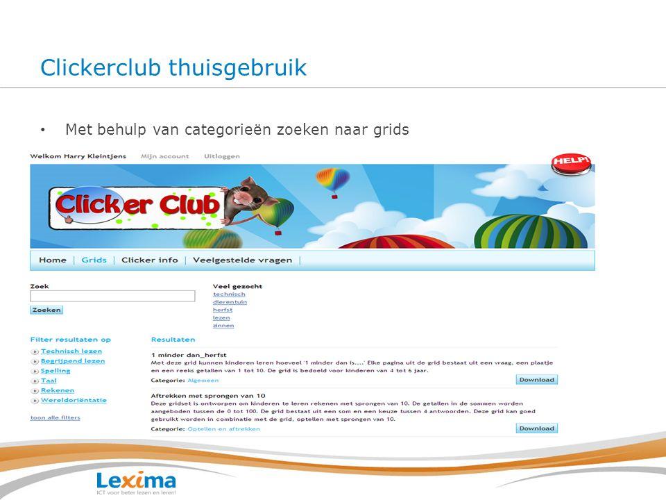 Clickerclub thuisgebruik Met behulp van categorieën zoeken naar grids