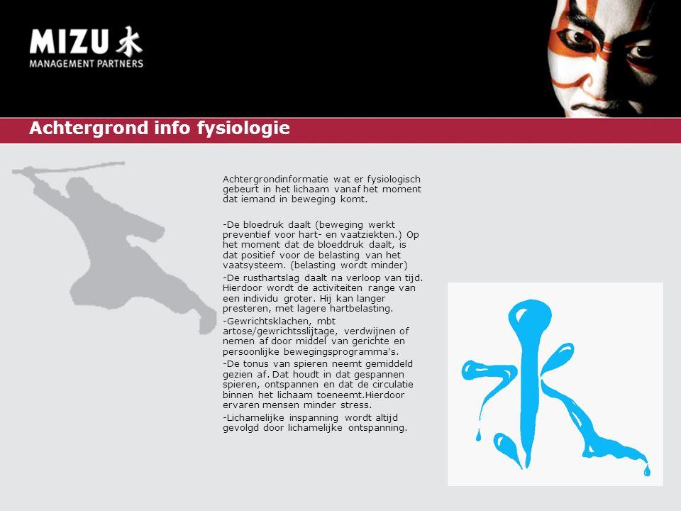Achtergrond info fysiologie Achtergrondinformatie wat er fysiologisch gebeurt in het lichaam vanaf het moment dat iemand in beweging komt.