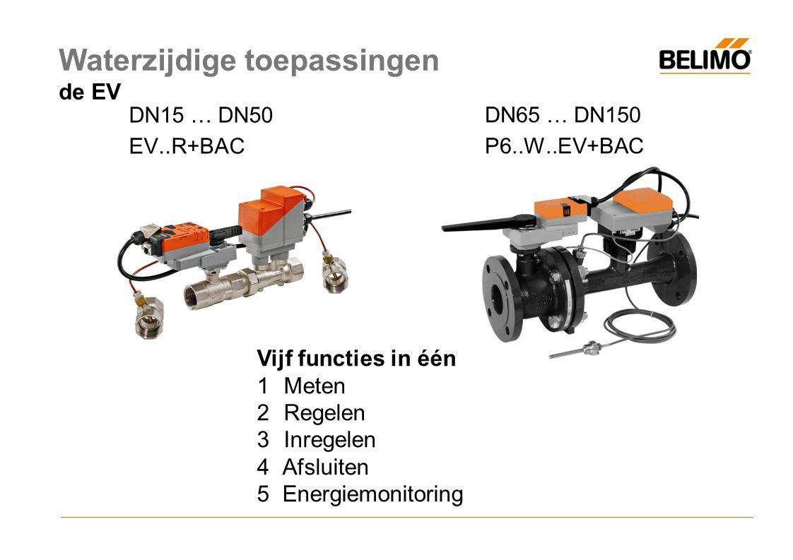 DN15 … DN50 EV..R+BAC DN65 … DN150 P6..W..EV+BAC Vijf functies in één 1Meten 2Regelen 3Inregelen 4Afsluiten 5Energiemonitoring Waterzijdige toepassingen de EV