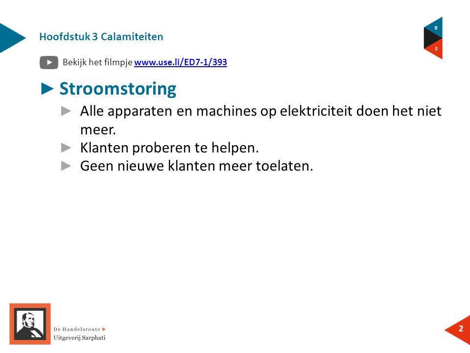 Bekijk het filmpje www.use.li/ED7-1/393www.use.li/ED7-1/393 2 ► Stroomstoring ► Alle apparaten en machines op elektriciteit doen het niet meer.