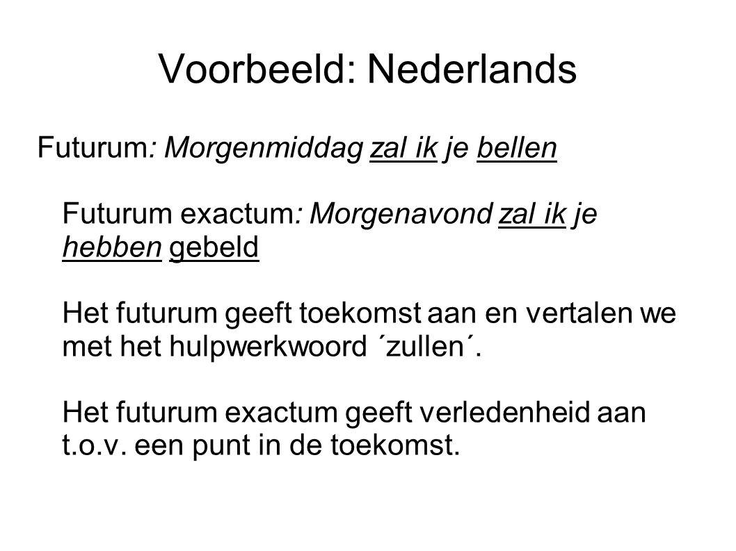 Voorbeeld: Nederlands Futurum: Morgenmiddag zal ik je bellen Futurum exactum: Morgenavond zal ik je hebben gebeld Het futurum geeft toekomst aan en vertalen we met het hulpwerkwoord ´zullen´.