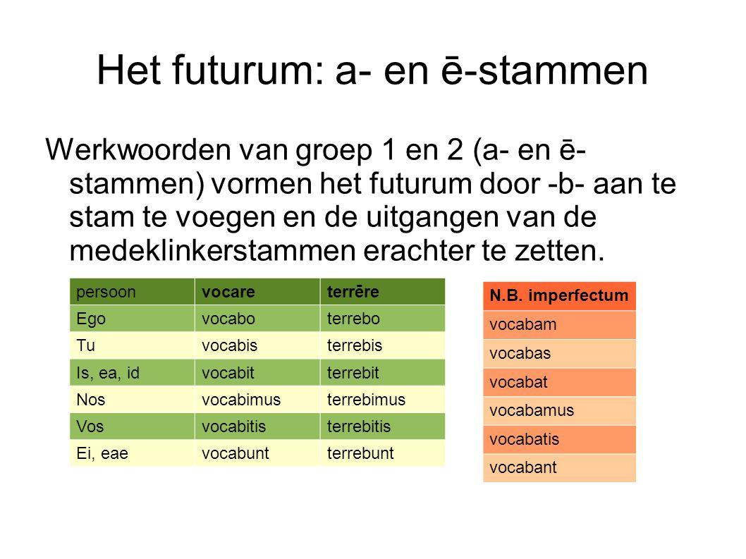 Het futurum: a- en ē-stammen Werkwoorden van groep 1 en 2 (a- en ē- stammen) vormen het futurum door -b- aan te stam te voegen en de uitgangen van de medeklinkerstammen erachter te zetten.