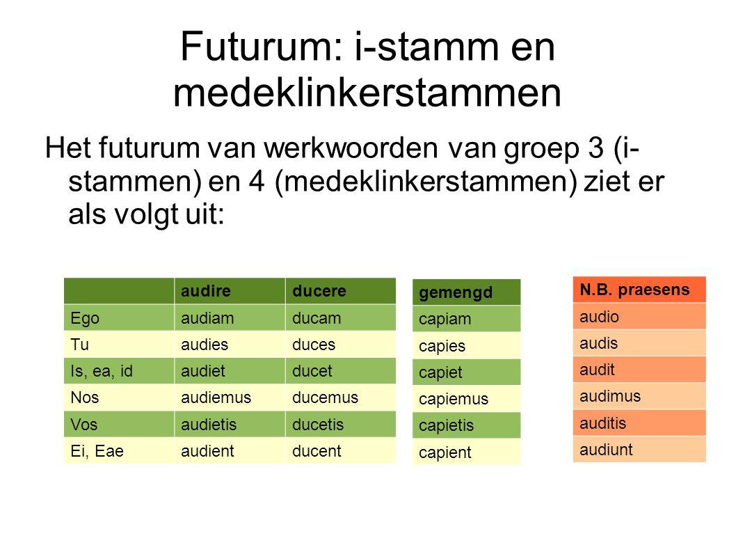 Futurum: i-stamm en medeklinkerstammen Het futurum van werkwoorden van groep 3 (i- stammen) en 4 (medeklinkerstammen) ziet er als volgt uit: audireduc