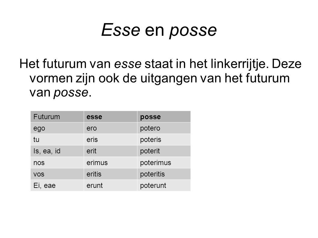Esse en posse Het futurum van esse staat in het linkerrijtje. Deze vormen zijn ook de uitgangen van het futurum van posse. Futurumesseposse egoeropote