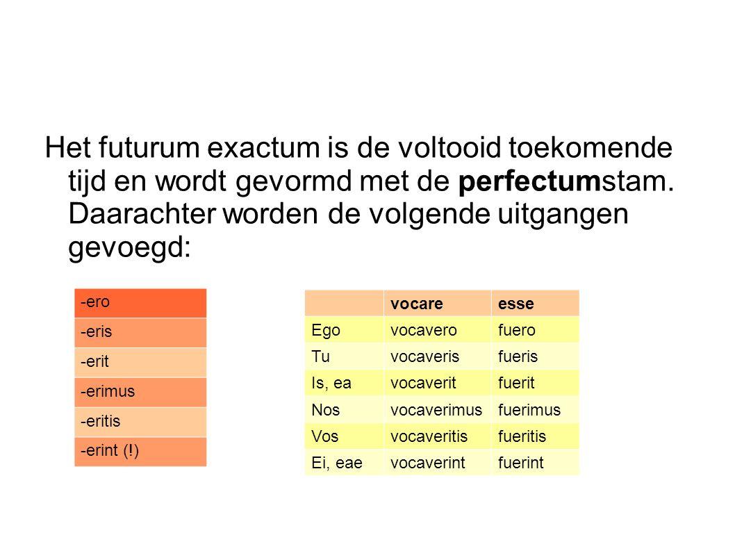 Het futurum exactum is de voltooid toekomende tijd en wordt gevormd met de perfectumstam. Daarachter worden de volgende uitgangen gevoegd: -ero -eris