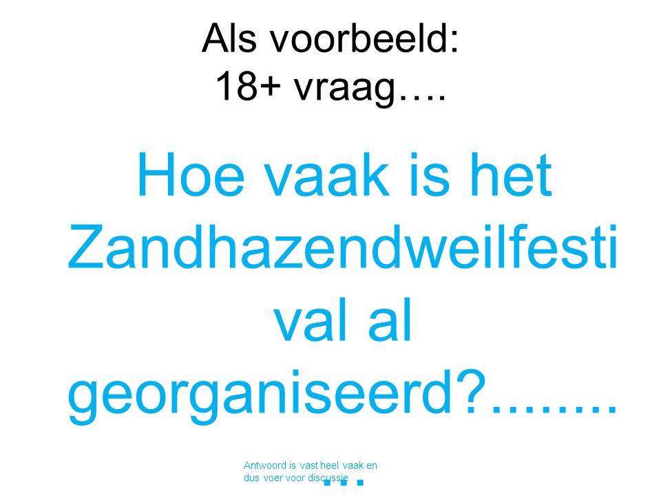 Als voorbeeld: 18+ vraag….Hoe vaak is het Zandhazendweilfesti val al georganiseerd?...........