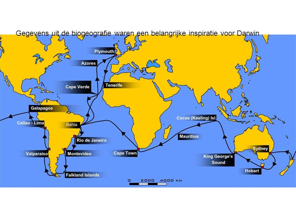 Gegevens uit de biogeografie waren een belangrijke inspiratie voor Darwin