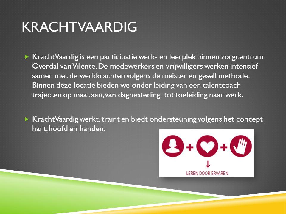 KRACHTVAARDIG  KrachtVaardig is een participatie werk- en leerplek binnen zorgcentrum Overdal van Vilente.