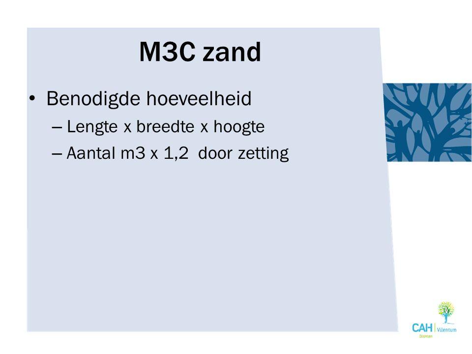 Benodigde hoeveelheid – Lengte x breedte x hoogte – Aantal m3 x 1,2 door zetting