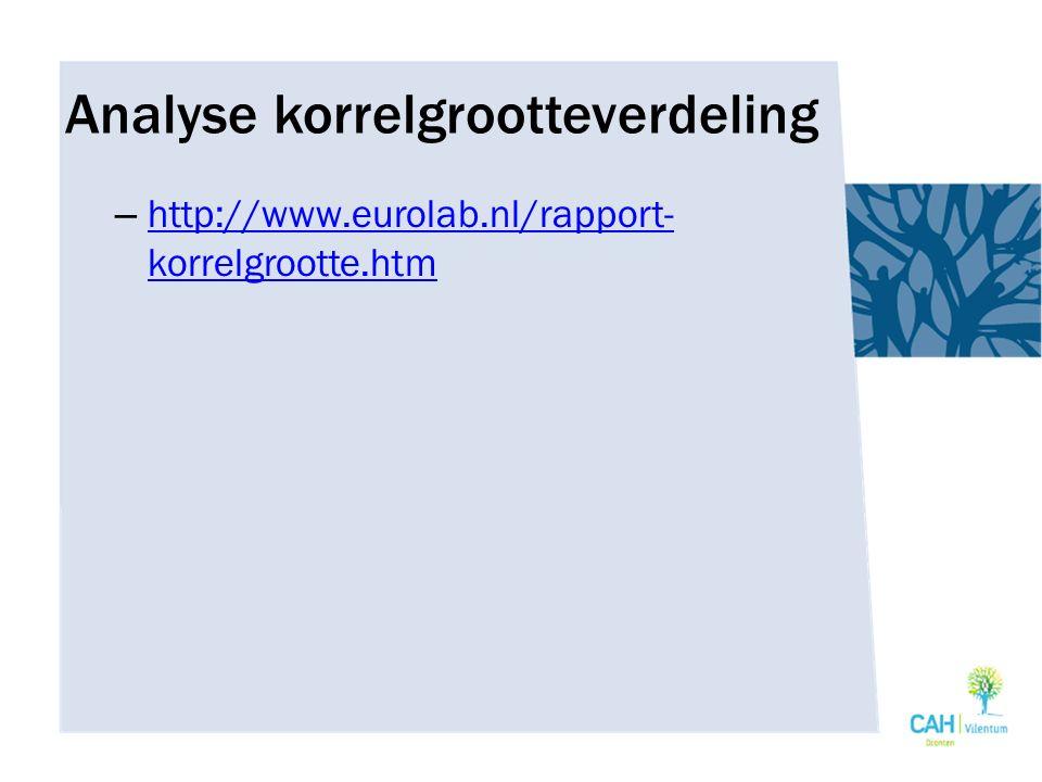 Analyse korrelgrootteverdeling – http://www.eurolab.nl/rapport- korrelgrootte.htm http://www.eurolab.nl/rapport- korrelgrootte.htm