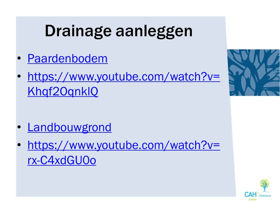 Drainage aanleggen Paardenbodem https://www.youtube.com/watch?v= Khqf2OqnklQ https://www.youtube.com/watch?v= Khqf2OqnklQ Landbouwgrond https://www.yo